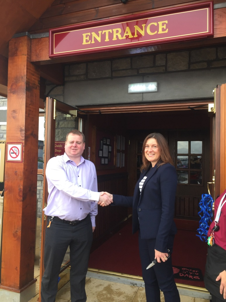 General Manager John Tracey with Paula Cormack from Maggie's Aberdeen
